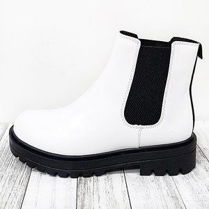 New White Round Toe Chelsea Platform Ankle Boots